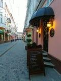 Wieczór ulica w Ternopil, Ukraina obraz royalty free