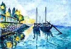 Wieczór w zatoce łodzie Malować mokrą akwarelę na papierze Naiwna sztuka Rysunkowa akwarela na papierze ilustracji