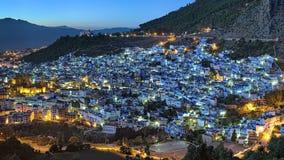Wieczór widok Chefchaouen, Maroko Zdjęcia Royalty Free