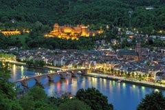 Wieczór widok Heidelberg Stary miasteczko, Niemcy zdjęcie royalty free