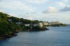 Wieczór widok książe Ruperts zatoczka, St Thomas, USVI Obraz Royalty Free