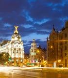 Wieczór widok Madryt zdjęcie royalty free