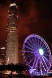 Wieczór widok od bulwaru Ferris koło z wieżowem hong kong zdjęcia stock
