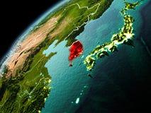 Wieczór widok Południowy Korea na ziemi Zdjęcia Stock