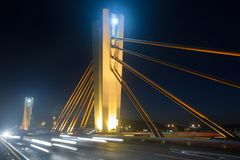 Wieczór widok Pont De Móc Peixauet Santa Coloma Hiszpania zdjęcia stock