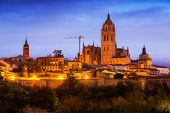 Wieczór widok Segovia katedra Zdjęcie Royalty Free