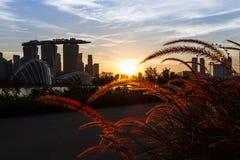 Wieczór widok Singapur obrazy royalty free