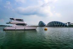 Wieczór widok Singapur Piękni drapacze chmur i złoto światła Fotografia Royalty Free