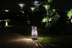 Wieczór widok Singapur Piękni drapacze chmur i złoto światła Zdjęcie Stock