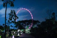 Wieczór widok Singapur Piękni drapacze chmur i złoto światła Obrazy Stock