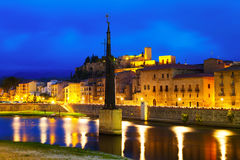 Wieczór widok Tortosa, Hiszpania Obrazy Stock
