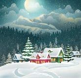 Wieczór zimy wioska ilustracja wektor