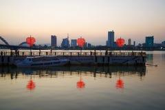 Wieczór zmierzch na Han rzece Danang, Wietnam Fotografia Royalty Free