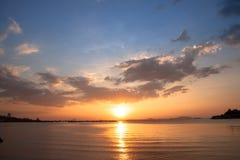 Wieczór zmierzch Przy oceanem zdjęcia stock