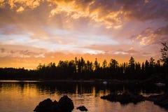 Wieczór zmierzch Silver Lake Kalifornia Obrazy Stock