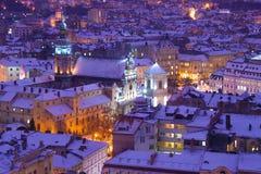 Wieczór zmierzch w Lvov zdjęcie stock