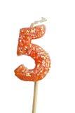 świeczek 5 urodzinowych liczb Obraz Stock