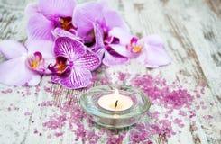 Świeczka z orchideami Zdjęcie Stock