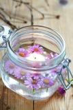 Świeczki i kwiaty Fotografia Royalty Free