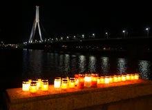 Świeczki i miasto panorama Zdjęcia Royalty Free