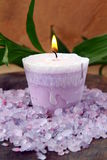 świeczki purpur soli morza zdrój Obrazy Royalty Free