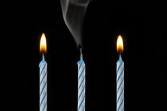 świeczki trzy Zdjęcia Stock