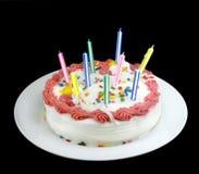świeczki urodzinowe ciasto Fotografia Stock