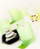 świeczki zdroju kamienie Fotografia Stock
