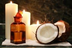 Świeczki zdroju kokosowego oleju Zdjęcia Stock