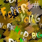 wiecznie młoda Pracy mocno wymarzony duży Grunge kolorowy abstrakcjonistyczny wektorowy bezszwowy wzór z zwrotami, słowa Graffiti ilustracji