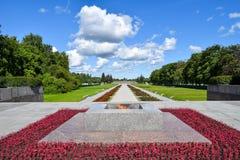 Wiecznie płomień przy Piskaryovskoye pamiątkowym cmentarzem w Leningrad Obrazy Royalty Free