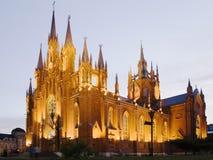 wieczorem gothic świątynię. Obraz Stock
