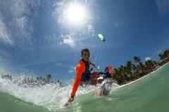 wieczorem jasno latawce surfer słońca Obrazy Royalty Free