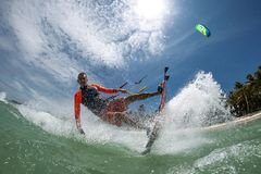 wieczorem jasno latawce surfer słońca Zdjęcia Stock