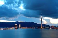 wieczorem na most Macau zdjęcie royalty free