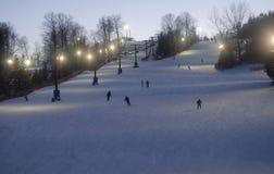wieczorem na nartach Zdjęcia Royalty Free