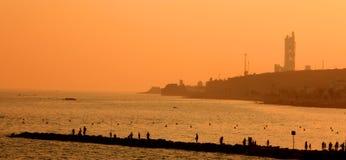 wieczorem panoramicznego molo Zdjęcie Royalty Free