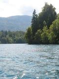 wieczorem się wysp lake gór centralne miłego odbicie Słowenii Obrazy Royalty Free