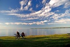 wieczorem simcoe jeziora. Obraz Royalty Free