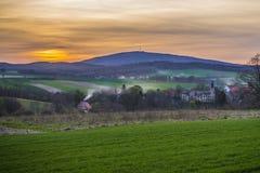 Wieczór widok miasteczko Obrazy Royalty Free