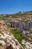 Wied Babu depresja na południowym wybrzeżu Malta wyspa Zdjęcie Stock
