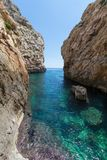 Wied Babu Zurrieq Malta. Wied Babu, at Wied iz-Zurrieq, azure blue turquoise waters at the bottom of the valley, next to the Blue Grotto, Zurrieq, Malta, May Royalty Free Stock Image
