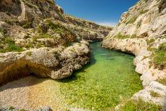 Wied il-Ghasri, Gozo, Malta. Small beach Royalty Free Stock Images