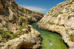 Wied il-Ghasri, Gozo, Malta. Snorkeling in Wied il-Ghasri, Gozo, Malta Royalty Free Stock Photography