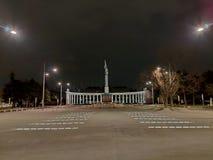 Wiedeń Austria, Luty, - 2019: Schwarzenbergplatz kwadrat cumujący noc portu statku widok obraz royalty free