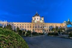 Wiedeń, Austria: noc widok muzeum sztuki historia w Wiedeń obraz stock