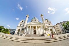 Wiedeń Austria, Czerwiec, - 7 2019: St Charles Kościelny Karlskirche, jest barokowym kościół lokalizować na południowej stronie K obrazy stock