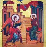 WIEDEŃ AUSTRIA, GRUDZIEŃ, - 19, 2016: Ikona Annunciation na kanwie w kościelnym Brigitta Kirche Obraz Stock