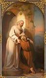 WIEDEŃ AUSTRIA, GRUDZIEŃ, - 19, 2016: Obraz scena powrót Rozrzutny syn w kościelnym kirche St Laurenz zdjęcie royalty free