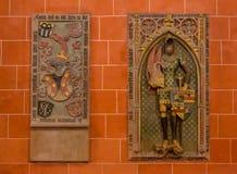 WIEDEŃ AUSTRIA, GRUDZIEŃ, - 19, 2016: Rzeźbiąca ulga St Mark ewangelista w kościelnym Brigitta Kirche nieznane obraz royalty free